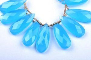 Beautiful Caribbean Blue Chalcedony necklace
