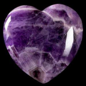 A beautiful heart-shaped chevron amethyst stone